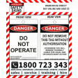 (PK100)(TAGCD2) TAG DANGER DO NOT OPERATE 100x150mm CARD STOCK