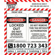 (PK10)(TAGPD6) TAG DANGER LOCKED OUT DO 100x150mm POLY