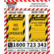 (PK10)(TAGPW2) TAG SYMBOL W DO NOT OPERATE 100x150mm POLY