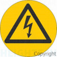 WARNING HIGH VOLTAGE SYMBOL 50mm Diameter SS VINYL (Pack of 5)
