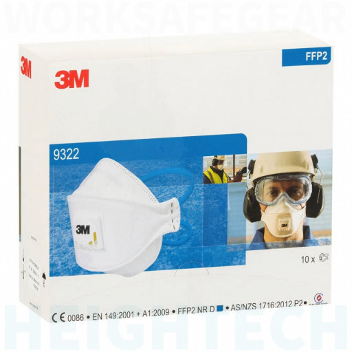 3M P2 N95 9322A Medical & Industry Respirator Aura Flat Fold mask