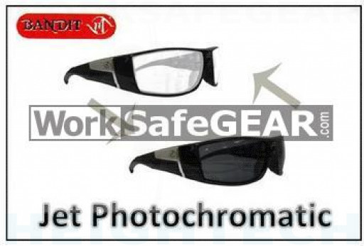 Bandit III JET Photochromatic Transition Lens Safety Glasses Eye Protection Specs Black Frame (5506SBPHGC)