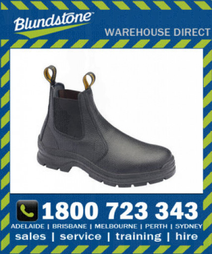 Blundstone Style 310 Black Print Leather Elastic Side Safety Boot