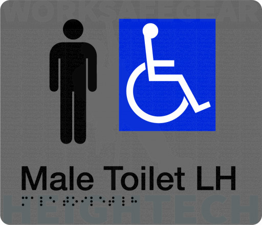 180x210mm - Braille - Silver PVC - Male Accessible Toilet (Left Hand) (BTS006B-LH)