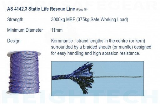 SpanSet Rope 11mm Kernmantle rated 3000kg