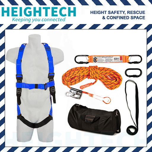 Basic Heightech Roofer's Kit with Safety Harness and 15m Ropeline