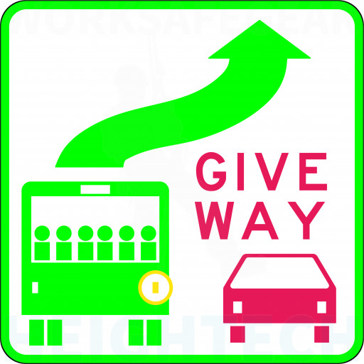 350x350mm - Class 2 - Self Adhesive - Give Way To Bus (R6-31A)