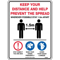Help Prevent The Spread Social & Physical  Distancing Sign 300x255mm Poly (5908MP)