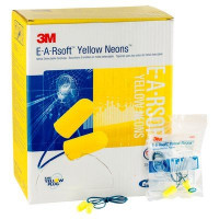 (Case of 10 boxes) 3M Regular Size Yellow Corded Earplugs in Polybag Class 4 SLC80 23dB (200 pairs per box) (70071515103)