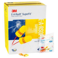 (Case of 10 boxes) 3M Regular Size Yellow with Red Band Corded Earplugs in Polybag Class 4 SLC80 24dB (200 pairs per box) (70071515145)