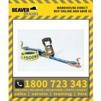 Beaver 35mm X 6m New Rubber Grip Handle C_W Black Vinyl S Hooks Multi Purpose Ratchet Tie Down Assembly Rubber Grip Handle C_W Hook & Keeper (349035rsb)