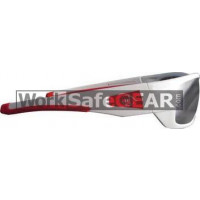 Bandit III Maverick Fashion Safety Glasses Eye Protection Specs White-Red Frame, Mirror Lens (8105SWSMD)