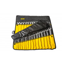 RX03B618BK - 34 PCE COMBO SPANNER ROLL - BLACK WITH YELLOW POCKETS pic1.jpg