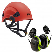 Petzl Vertex AS/NZ 1801 Compliant Helmet Red (A010AA02) & 3M Earmuffs X4P3G/E