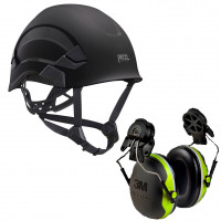 Petzl Vertex AS/NZ 1801 Compliant Helmet Black (A010AA03) & 3M Earmuffs X4P3G/E