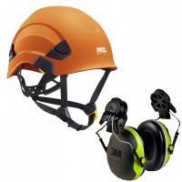 Petzl Vertex AS/NZ 1801 Compliant Helmet Orange (A010AA04) & 3M Earmuffs X4P3G/E