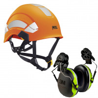 Petzl Vertex AS/NZ 1801 Helmet Hi-Vis Orange (A010DA01) & 3M Earmuffs X4P3G/E