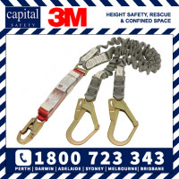 3M PROTECTA  Shock Absorbing Elasticated Webbing Lanyard - Double Tail AE529EY/5A