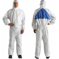 L Protective Coverall White + Blue with Blue Breathable Back Panel 3M (4540+)