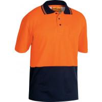 Bisley Orange/Navy 2 Tone Hi Vis Polo Shirt Short Sleeve (BK1234)
