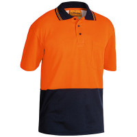 MEDIUM Bisley Orange/Navy 2 Tone Hi Vis Polo Shirt Short Sleeve (BK1234)