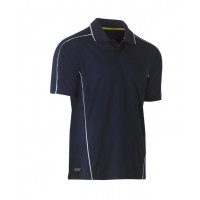 Bisley Cool Mesh Polo Shirt Navy with reflective piping