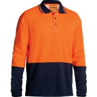 Bisley Orange/Navy 2 Tone Hi Vis Polo Shirt Long Sleeve (BK6234)