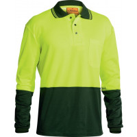 Bisley Yellow/Bottle 2 Tone Hi Vis Polo Shirt Long Sleeve (BK6234)