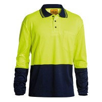 SMALL Bisley Yellow/Navy 2 Tone Hi Vis Polo Shirt Long Sleeve (BK6234)