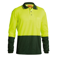 XL Bisley Yellow/Bottle 2 Tone Hi Vis Polo Shirt Long Sleeve (BK6234)