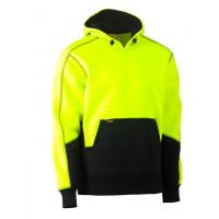 Bisley Hi Vis 2 Tone Fleece Pullover Hoodie Yellow/Navy