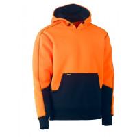 Bisley Hi Vis 2 Tone Fleece Pullover Hoodie Orange/Navy