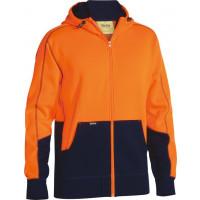 Bisley Hi Vis Fleece Hoodie Orange/Navy