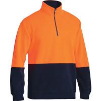 Bisley Hi Vis Polarfleece Zip Pullover Orange/Navy