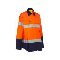 Bisley 3M Taped Hi Vis Maternity Drill Shirt Orange/Navy