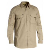 SMALL Khaki X Airflow Ripstop Work Long Sleeve Shirt (BS6414)