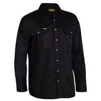 Small Black Bisley Mens Cotton Drill Shirt Long Sleeve (BS6433_BBLKS)