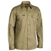 6XL Khaki Bisley Mens Cotton Drill Shirt Long Sleeve (BS6433_BCDR6XL)
