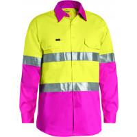 Bisley 3M Taped Cool Lightweight Hi Vis Shirt Yellow/Pink