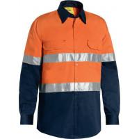 Bisley 3M Taped Cool Lightweight Hi Vis Shirt Orange/Navy