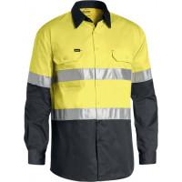 Bisley 3M Taped Cool Lightweight Hi Vis Shirt Yellow/Charcoal