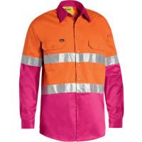 Bisley 3M Taped Cool Lightweight Hi Vis Shirt Orange/Pink