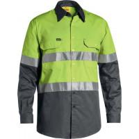 Bisley 3M Taped Cool Lightweight Hi Vis Shirt Lime/Charcoal