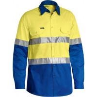 Bisley 3M Taped Cool Lightweight Hi Vis Shirt Yellow/Royal