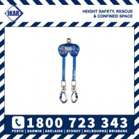 IKAR  2m Twin Retractable Dual Fall Arrest Block with twist lock karabiners SRL Rated 136kg/300lbs