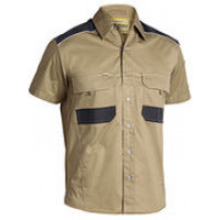 SMALL KHAKI Flex & Move Mechanical Stretch Short Sleeve Shirt