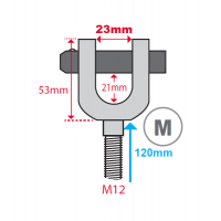 Hydrajaws M12 Ringbolt Adaptor Clevis (Model 2050)  M  23mm  (PS2050MRB23)