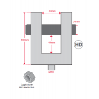 Hydrajaws M20 Heavy Duty Ringbolt Adaptor clevis 49mm + M20 Hex nut (Model 2008 / Hydraulic) (PSHDRB49)