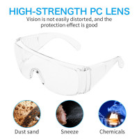 Medical & Industrial Eyes Protection Glasses Safety Anti Dust Glasses Overspec Visitor Spec