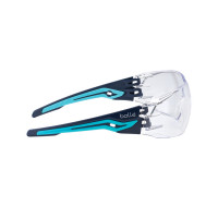 Bolle Safety Glasses SILEX Navy/Aqua Temples CLEAR Lens (SILEXPSI)